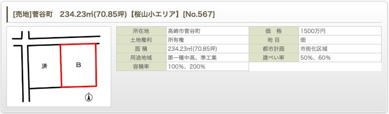 [売地]菅谷町 234.23㎡(70.85坪)【桜山小エリア】 [No.567]